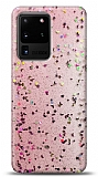 Eiroo Sparkle Samsung Galaxy S20 Ultra Işıltılı Pembe Silikon Kılıf