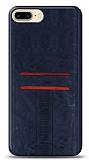 Eiroo Wallet iPhone 8 Plus Deri Görünümlü Mavi Silikon Kılıf
