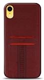 Eiroo Wallet iPhone XR Deri Görünümlü Kırmızı Silikon Kılıf