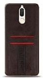 Eiroo Wallet Huawei Mate 10 Lite Deri Görünümlü Kahverengi Silikon Kılıf