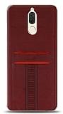 Eiroo Wallet Huawei Mate 10 Lite Deri Görünümlü Kırmızı Silikon Kılıf