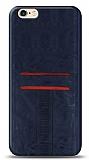 Eiroo Wallet iPhone 6 / 6S Deri Görünümlü Mavi Silikon Kılıf