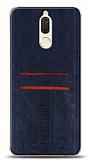 Eiroo Wallet Huawei Mate 10 Lite Deri Görünümlü Mavi Silikon Kılıf