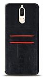 Eiroo Wallet Huawei Mate 10 Lite Deri Görünümlü Siyah Silikon Kılıf