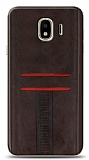 Eiroo Wallet Samsung Galaxy J4 Deri Görünümlü Kahverengi Silikon Kılıf