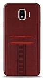 Eiroo Wallet Samsung Galaxy J4 Deri Görünümlü Kırmızı Silikon Kılıf