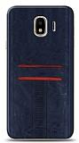 Eiroo Wallet Samsung Galaxy J4 Deri Görünümlü Mavi Silikon Kılıf