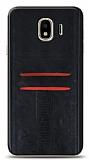 Eiroo Wallet Samsung Galaxy J4 Deri Görünümlü Siyah Silikon Kılıf