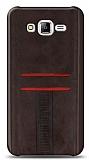 Eiroo Wallet Samsung Galaxy J7 / Galaxy J7 Core Deri Görünümlü Kahverengi Silikon Kılıf