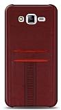 Eiroo Wallet Samsung Galaxy J7 / Galaxy J7 Core Deri Görünümlü Kırmızı Silikon Kılıf