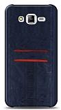 Eiroo Wallet Samsung Galaxy J7 / Galaxy J7 Core Deri Görünümlü Mavi Silikon Kılıf