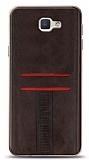 Eiroo Wallet Samsung Galaxy J7 Prime / J7 Prime 2 Deri Görünümlü Kahverengi Silikon Kılıf