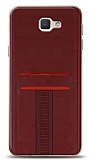 Eiroo Wallet Samsung Galaxy J7 Prime / J7 Prime 2 Deri Görünümlü Kırmızı Silikon Kılıf