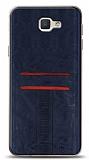Eiroo Wallet Samsung Galaxy J7 Prime / J7 Prime 2 Deri Görünümlü Mavi Silikon Kılıf