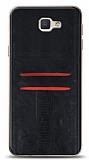 Eiroo Wallet Samsung Galaxy J7 Prime / J7 Prime 2 Deri Görünümlü Siyah Silikon Kılıf