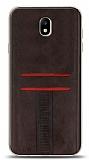 Eiroo Wallet Samsung Galaxy J7 Pro 2017 Deri Görünümlü Kahverengi Silikon Kılıf