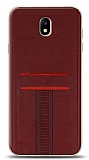 Eiroo Wallet Samsung Galaxy J7 Pro 2017 Deri Görünümlü Kırmızı Silikon Kılıf