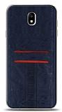 Eiroo Wallet Samsung Galaxy J7 Pro 2017 Deri Görünümlü Mavi Silikon Kılıf