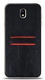 Eiroo Wallet Samsung Galaxy J7 Pro 2017 Deri Görünümlü Siyah Silikon Kılıf