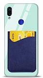 Eiroo Xiaomi Redmi Note 7 Pro Silikon Kenarlı Kartlıklı Mavi Cam Kılıf