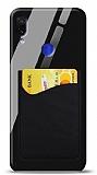 Eiroo Xiaomi Redmi Note 7 Pro Silikon Kenarlı Kartlıklı Siyah Cam Kılıf