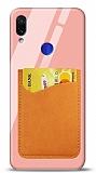 Eiroo Xiaomi Redmi Note 7 Pro Silikon Kenarlı Kartlıklı Turuncu Cam Kılıf
