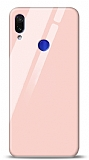 Eiroo Xiaomi Redmi Note 7 Pro Silikon Kenarlı Pembe Cam Kılıf