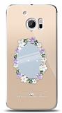 HTC 10 Çiçekli Aynalı Taşlı Kılıf
