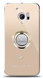 HTC 10 Gold Tutuculu Taşlı Şeffaf Kılıf