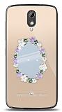 HTC Desire 526 Çiçekli Aynalı Taşlı Kılıf