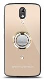 HTC Desire 526 Gold Tutuculu Taşlı Şeffaf Kılıf
