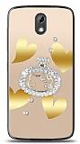 HTC Desire 526 Lovely Kitty Taşlı Kılıf