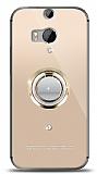 HTC One M8s Gold Tutuculu Taşlı Şeffaf Kılıf