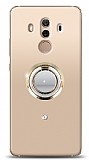 Huawei Mate 10 Pro Gold Tutuculu Taşlı Şeffaf Kılıf