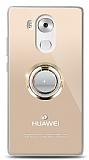 Huawei Mate 8 Gold Tutuculu Taşlı Şeffaf Kılıf