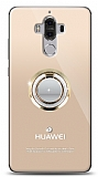 Huawei Mate 9 Gold Tutuculu Taşlı Şeffaf Kılıf