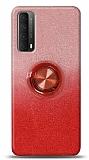 Huawei P smart 2021 Simli Yüzüklü Kırmızı Silikon Kılıf