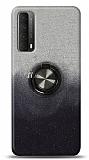 Huawei P smart 2021 Simli Yüzüklü Siyah Silikon Kılıf