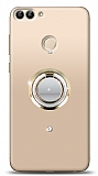 Huawei P Smart Gold Tutuculu Taşlı Şeffaf Kılıf