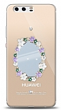 Huawei P10 Çiçekli Aynalı Taşlı Kılıf