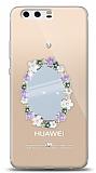 Huawei P10 Plus Çiçekli Aynalı Taşlı Kılıf
