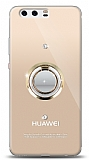 Huawei P10 Plus Gold Tutuculu Taşlı Şeffaf Kılıf