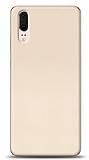Huawei P20 Tam Kenar Koruma Gold Rubber Kılıf