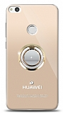 Huawei P9 Lite 2017 Gold Tutuculu Taşlı Şeffaf Kılıf