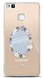 Huawei P9 Lite Çiçekli Aynalı Taşlı Kılıf