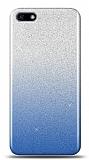 Huawei Y5 2018 Simli Mavi Silikon Kılıf