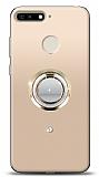Huawei Y6 2018 Gold Tutuculu Taşlı Şeffaf Kılıf