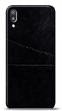Huawei Y6 2019 Silikon Kenarlı Kartlıklı Siyah Deri Kılıf