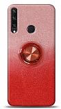 Huawei Y6p Simli Yüzüklü Kırmızı Silikon Kılıf