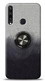 Huawei Y6p Simli Yüzüklü Siyah Silikon Kılıf